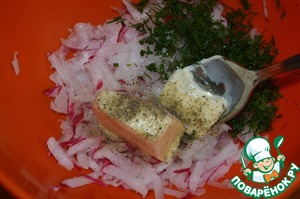 Dill chop.  Stir the dill and grated radishes with softened butter, salt and pepper to taste.