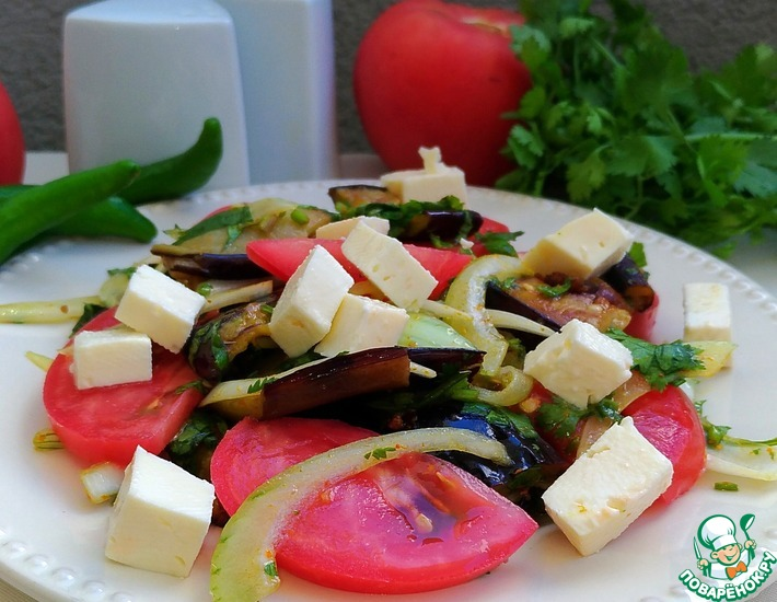 Рецепт: Салат с баклажанами и сыром