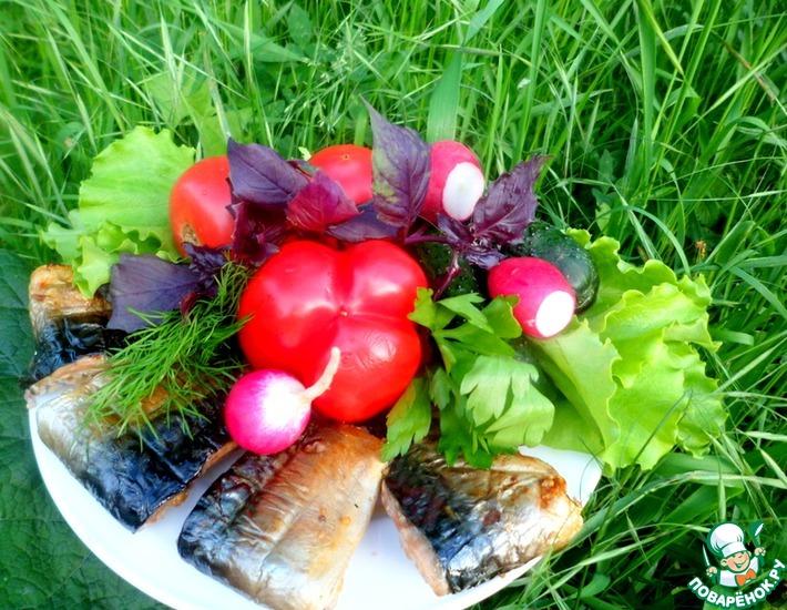 Рецепт: Скумбрия, запеченная на мангале