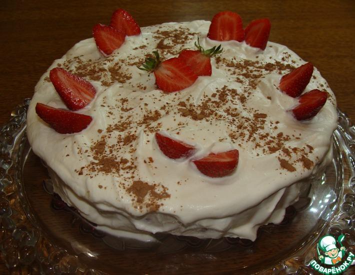Рецепт: Клубнично-кофейный торт