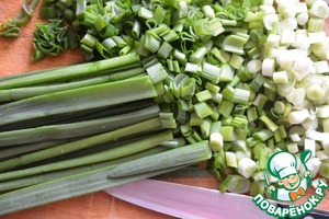 Green onions wash, dry. Finely slice.