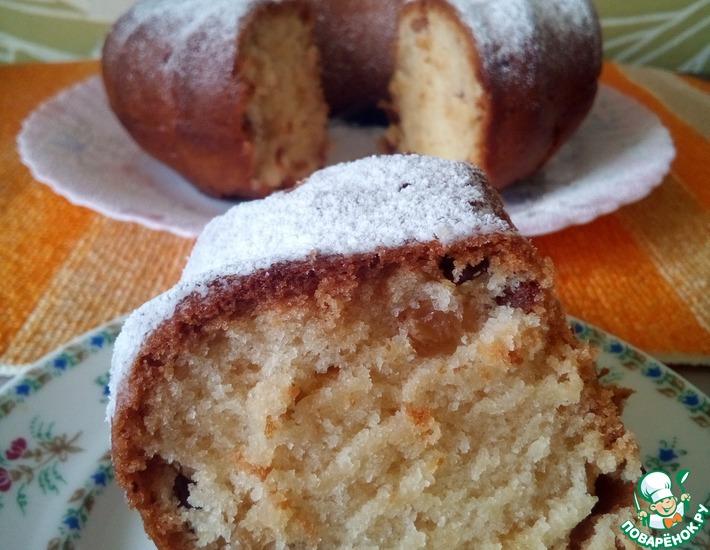 Рецепт: Ванильный кекс с изюмом без яиц