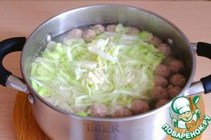 Добавить в кастрюлю капустную соломку, варить до дополнительно несколько минут (5-7 мин.)