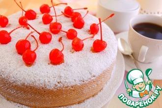 Рецепт: Бисквитный пирог с черешней