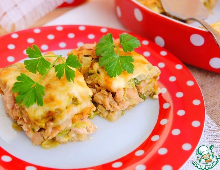 Рецепт: Капустная запеканка с пряным куриным филе