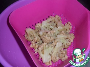 Recline slightly boiled cauliflower in a colander and douse with cold water.