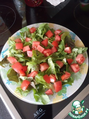 """Tomatoes (better cherry of course) cut into cubes and """"scatter"""" surface """"salad mattress"""". If using cherry tomatoes, just cut in half."""