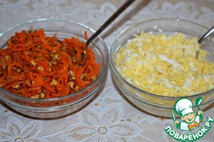 Carrot mix with nuts.  Cheese mixed with garlic and egg whites.