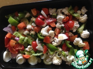 Vegetables cut and put on baking tray