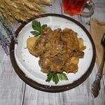 Жаркое из печени с картофелем