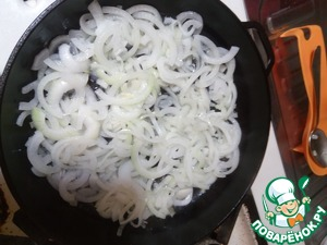 Fry the onions until transparent.