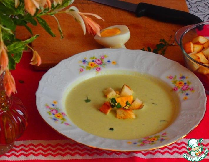 Рецепт: Кабачковый суп с луком-пореем