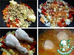 Чечевицу промыть, слить воду, добавить в кастрюлю. Добавить красный жгучий перец, приправу. На овощи выложить курицу. Залить кипятком. Количество воды регулируйте по мере необходимости, у меня густоватый суп. Варить, после закипания, на небольшом огне 20мин.