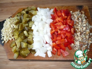 While the broth is cooked, prepare vegetables:  finely chop bell pepper, onion, pickles, walnuts and chop the garlic.
