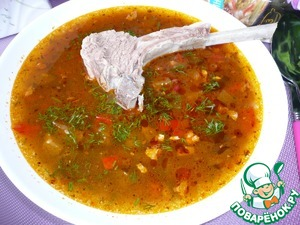 Before serving, put the soup meat. The dish is eaten hot. The newly brewed soup the vegetables should be crisp.      Bon appetit!
