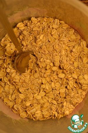 Mix the dry ingredients: cereals, bran, cinnamon and vanilla.