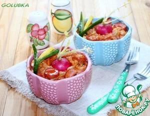 8. Подаем блюдо в порционных горшочках - так кажется вкуснее. В каждый горшочек добавьте рубленую свежую зелень.       Приятного аппетита!