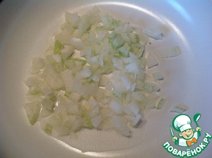 In frying pan heat vegetable oil and fry the onion until soft 5 minutes.