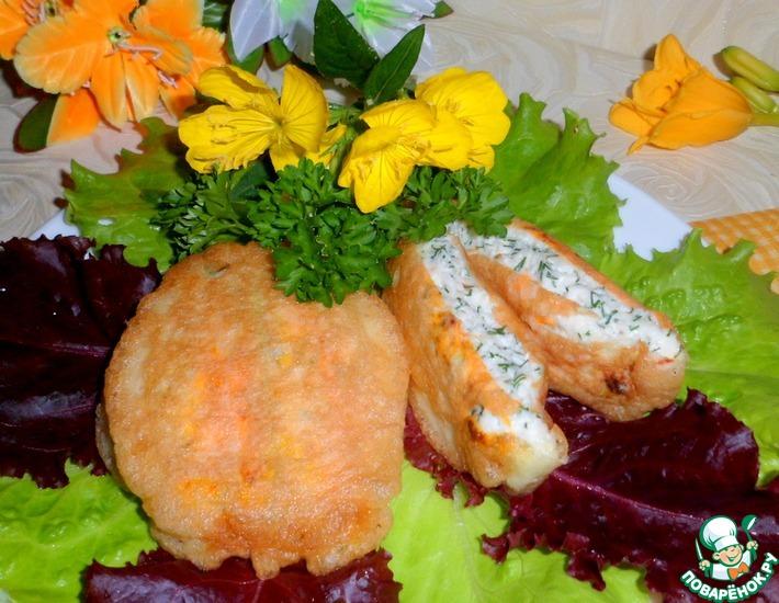 Рецепт: Фаршированные цветы кабачков в кляре