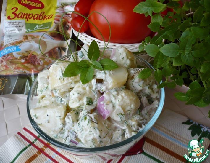 Рецепт: Картофельный салат c солеными огурцами