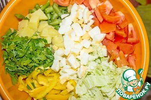 In a bowl put all the chopped/poresand th...