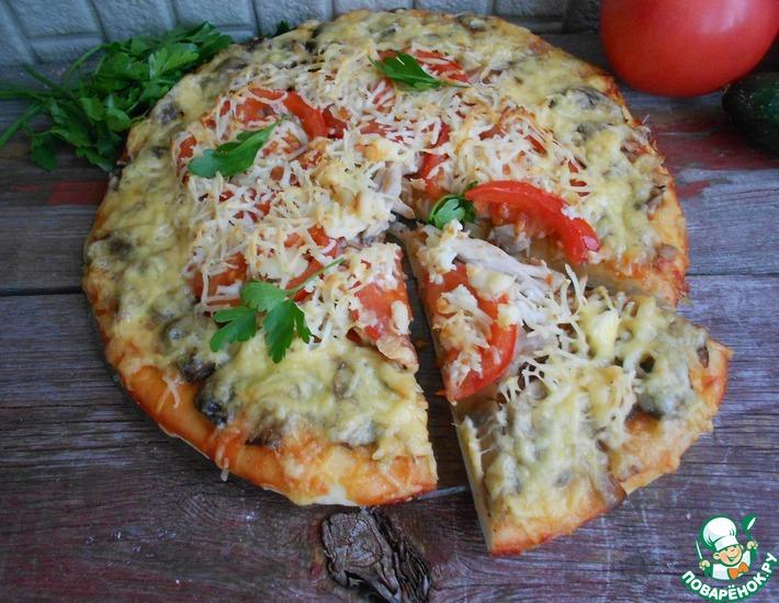 Рецепт: Пицца с курицей и шампиньонами