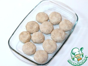 4. Shape the cutlets. Dip cutlets in beaten egg and coat in breadcrumbs. Put meatballs into oiled baking dish.  If there is egg mixture, whisk again with a fork and finally add in the sauce.