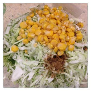 Add the corn and mix thoroughly the salad.