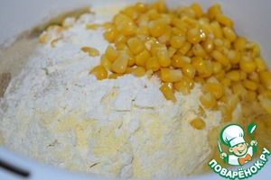 Both types of flour to sift. With corn drain the excess fluid. Instead of canned corn you can use frozen.  Mix all the ingredients.
