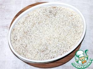 4. На фарш выложить рис.