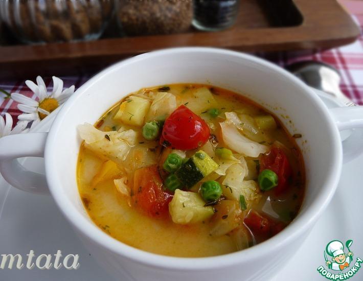 Рецепт: Суп летний овощной с плавленым сыром