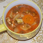 Суп овощной с фаршем в духовке