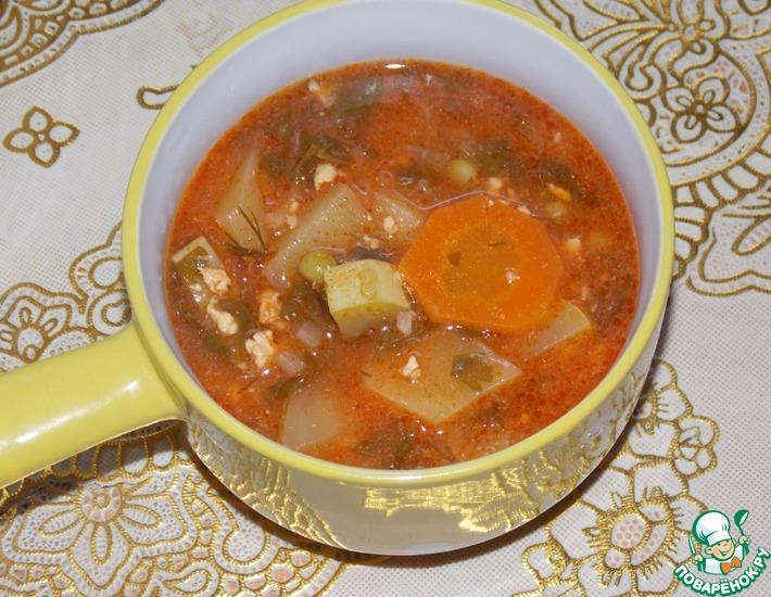 Рецепт: Суп овощной с фаршем в духовке