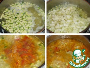 In the boiling broth add potatoes, zucchini (sliced vegetables do what you like, we love fine) and cook for 10min. on moderate heat. Cabbage cut into small pieces and add to the pan, cook everything together for another 5 minutes. Add zazharku, Bay leaf.