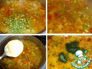 Add green peas, seasoning, lemon juice, cream cheese, parsley. Turn off the heat (I have electric. oven, it holds heat, if you have a gas stove, boil for a few minutes). The broth and adjust as needed, I have a thickish soup. Check for salt.