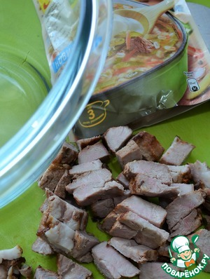 Meat pre-boil or fry them, cool and slice.  Put in a salad bowl.  (In my case a kebab.)