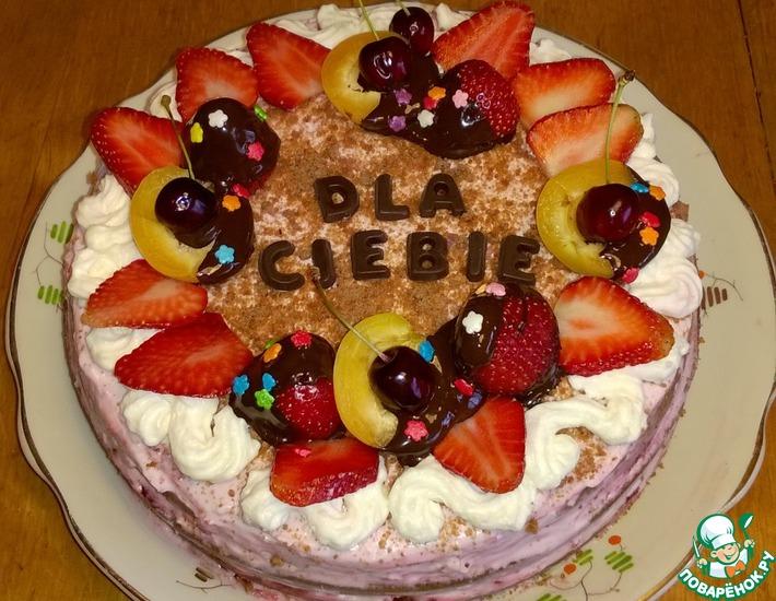 Рецепт: Шоколадный торт с мармеладом и сливками