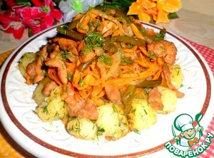 On potatoes to put chicken with vegetables, serve hot or warm.   Bon appetit!