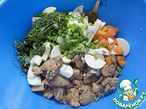 Mix liver, eggs, carrots and chopped greens.
