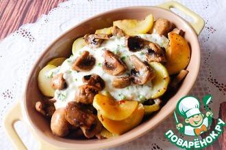 Рецепт: Жареные кабачки с грибами