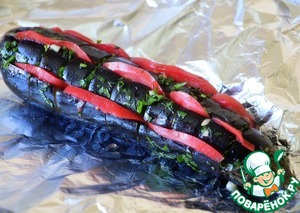 Slotted insert thin slices of tomato, pour the juice remaining from the sauce. Wrap in foil and bake on the barbecue grill, turning, until tender.