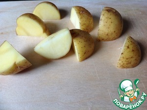 Young small sized potatoes well washed and cut into quarters.