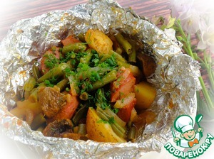 Potatoes are ready to submit immediately, sprinkled with finely chopped greens.  Bon appetit!