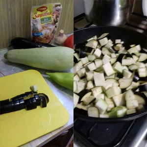 Wash vegetables. Eggplant and zucchini cut into cubes and add to a large pan with hot oil. Fry stirring 10 min.