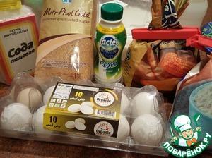Ингредиенты. Оба вида муки просеять. Все ингредиенты я использовала сразу из холодильника.