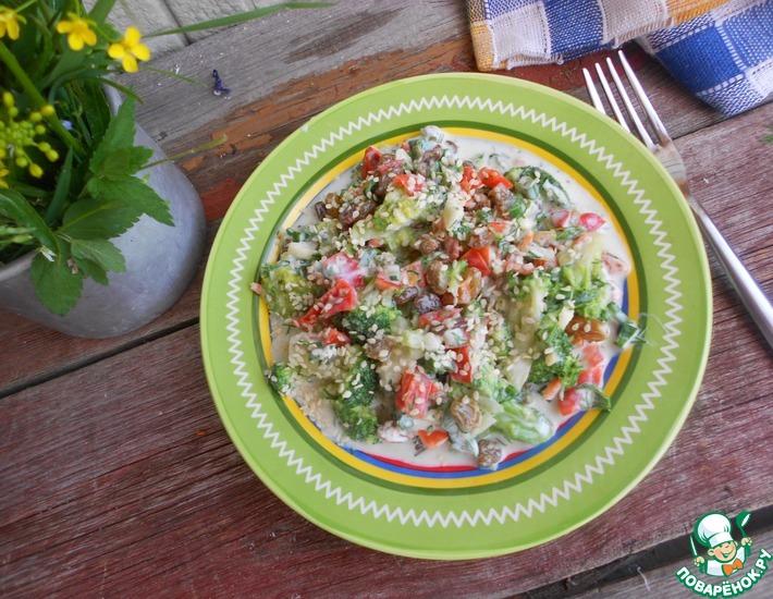 Рецепт: Салат из брокколи с перцем