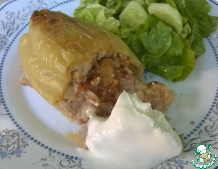 Рецепт: Перец, фаршированный картофелем и мясным фаршем