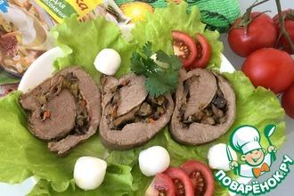 Рецепт: Рулет из говядины с грибами