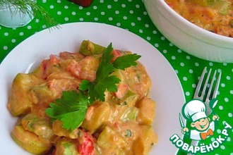 Рецепт: Кабачковое рагу в сметанном соусе