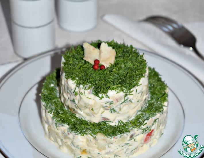 Рецепт: Рыбный салат с запеченным перцем